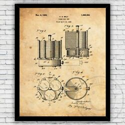 Poker Chip Set Casino Game Patent Wall Art Print Decor - Size And Frame Options