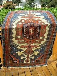 Antique 1900 Caucasian Design Exceptional Rug Good Pile Highly Collectible