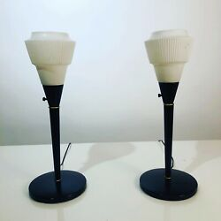 Art Deco Metal Table Lamps With Glass Shades