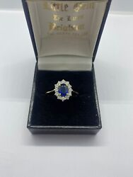 Superb 18ct Diamond And Sapphire Cluster Ring