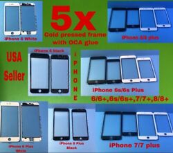 5x Glass Lens Cold Pressed Frame Glass With Oca Glue For Iphone 6 6s 7 8 Plus