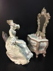 Lladro 1242 Lady At Dressing Table, 2 Piece Set, Vintage Pieces. 12.25 High