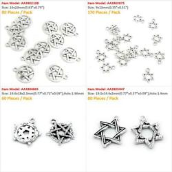 Antique Silver Plated Jewelry Making Charms Pentacle Star Of David Hexagonal
