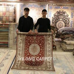 Yilong 4'x6' Red Silk Handmade Area Rug Dining Room Hand-knotted Carpet 073m