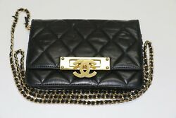 Quilted Black Leather Chain Clutch - Flip Lock