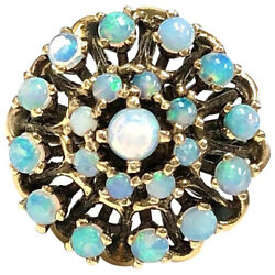1950s Mid Century Vintage 14k Gold And Precious Crystal Opal Cluster Ring