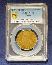 1795-m Mf Spain Gold 4 Escudos Pcgs Xf-45, Great Problem Free Colonial Gold Coin