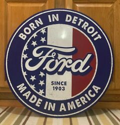 Ford Metal Sign Garage Vintage Style Wall Decor Tools Oil Gas Mustang Truck