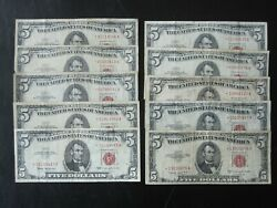 Lot Of 10 5 Star Legal Tender Notes 1953 1953a 1953b 1963 Free S/h