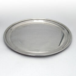 Plain Round Serving Tray Plate Applied Rim Sterling Silver
