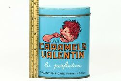 Antique 1930's Advertising French Candy Tin - Caramels Valentin Picard - Kid