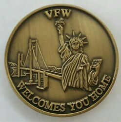 Vfw Welcomes You Home Veterans Of Foreign Wars Challenge Coin Antique Bronze