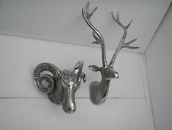 Metal Wall Mounted Stag Head With Ram Head Deer Sculpture Set Of 2 Pcs