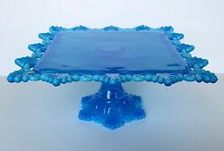Westmoreland Ring And Petal Brandywine Blue Opalescent Square Cake Stand Plate
