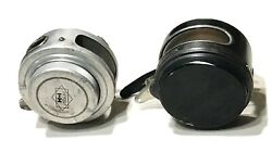 Vintage Antique Pair H-i Utica And Perrine Mfgco No80 Fly Fishing Reels Spools Old