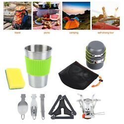 Camping Cookware Mess Kit Backpacking Gear amp; Hiking Hiking Picnic Cookware Set $22.49