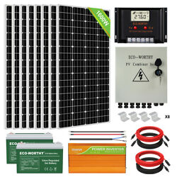 1600w 1200w 800w 600w 400w 200w Watt Solar Panel Kit For Home Rv Marine Shed Us