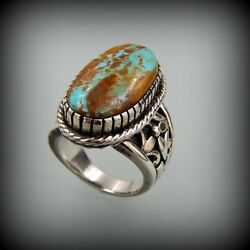 Solid Handcrafted Sterling Silver Roystone Turquoise Southwestern Ring Size 10