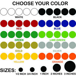 Polka Dot Stickers Pick Size and Color Permanent Outdoor Glossy Vinyl Decals