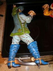 Vintage Set Of 2 Handmade Mold French Fencing Sport Wall Figurines Plaques