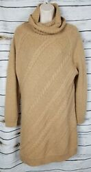 Soft Surroundings Camel Sweater Dress Cable Knit Turtleneck Wool Blend large