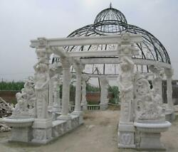 MARBLE  FIGURATIVE MONUMENTAL VICTORIAN STYLE OUTDOOR ESTATE GAZEBO - GZ45