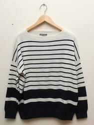 W502 Nwt Vince Band Ribbed Stripe 100 Cashmere Women Sweater Size M 365