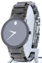 Movado Sapphire Watch 0607179 Black Ion-plated Steel Band Black Case 39mm