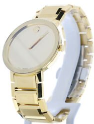 Movado Sapphire Watch 0607180 Gold Ion-plated Steel Band Gold Case 39mm