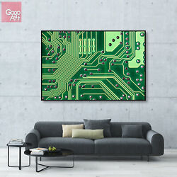 Canvas Print Wall Art Big Poster Abstract Modern Decor Tech Motherboard Graphic