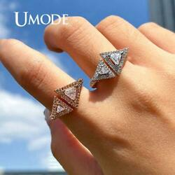 UMODE Triangle Wedding Rings for Women Engagement Ring Zirconia Adjustable