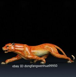 Chinese Copper Bronze Modern Home Art Animal Sculpture Quick Leopard Panther