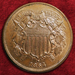 1864-p Shield Two Cents Large Motto Bn/rb, Very High Grade Gem Bu Sale 25