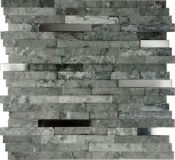 Gray Natural Stone Stainless Steel Insert Mosaic Tile