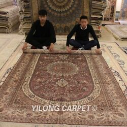 Yilong 6and039x9and039 Hand-knotted Silk Classic Carpets Pink Medallion Area Rugs 038m