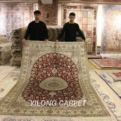 Yilong 6and039x9and039 Red Hand Knotted Area Rug Medallion Handmade Silk Home Carpets Y77b