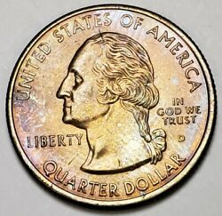 1999-d Uncirculated Delaware State Quarter Lightly Toned Must Have