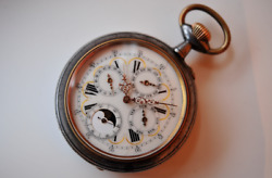 Moon-phase And Annual Calendar Pocket Watch - Big Size