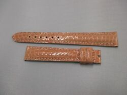 New Oem Camille Fournet 14mm X 12mm Salmon Pink Exotic Leather Watch Strap Band