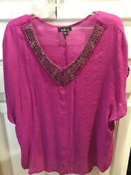 WOMENS PLUS SIZE 3X FuchsiaBling SHEER PULLOVER BLOUSE AGB DESIGN $11.99