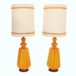 Vintage Mid Century Signed Modern Large Ceramic Table Lamps - Pair