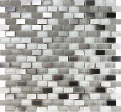 White Glass Mother Of Pearl Stainless Steel Mosaic Tile Kitchen Backsplash