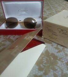 new vintage oval cartier gold with brown lenses sunglasses T8100272