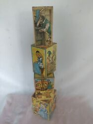Vintage Kids Cardboard Stacking Toy Boxes. 1950's Made By Saafield Publishing Co