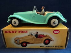 Dinky Rare 1950and039s Mg Midget Sports Car No 102 Mint Ex Shop Stock Wow
