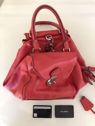 DOLCE & GABBANA Vintage Red Strap Leather Hand Bag Made In Italy Kaylie Jenner $499.99