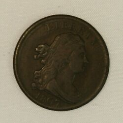 1807 Draped Bust Copper Half Cent. Sharp Looking. Choice Circulated.
