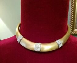 Vintage Lanvin Art Deco Choker Necklace And Earrings Gold Tone And Crystal Rare Set