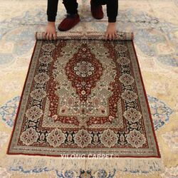 Yilong 3and039x5and039 Classic Medallion Hand Craft Silk Area Rug Hand Knotted Carpet 011b