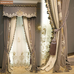 Embroidered Villa Bedroom Velvet Brown Thick Cloth Curtain Valance Panel C082